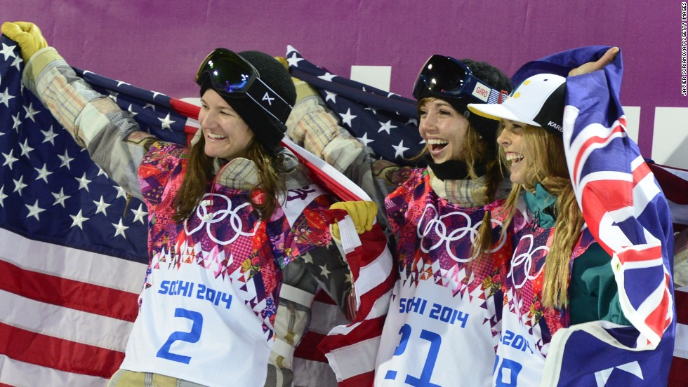 Gold medalist Kaitlyn Farrington (center) celebrates with Bronze winner Kelly Clark (L) and silver medalist, Australia's Torah Bright at the snowboard halfpipe final of the 2014 Winter Olympics. Shortly after, Farrington was diagnosed with a spinal condition which forced her out of the sport.