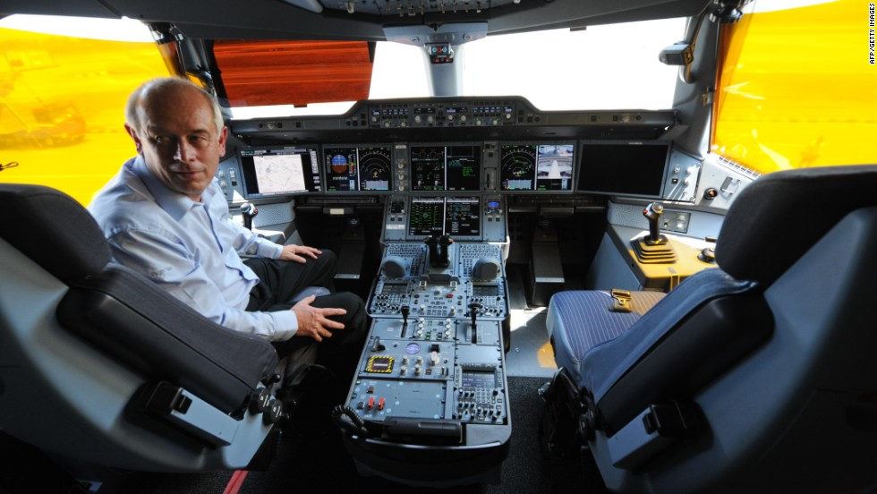 Peter Chandler, Airbus chief test pilot, inside the cockpit of the A350 XWB flight test plane at the Singapore show this year.