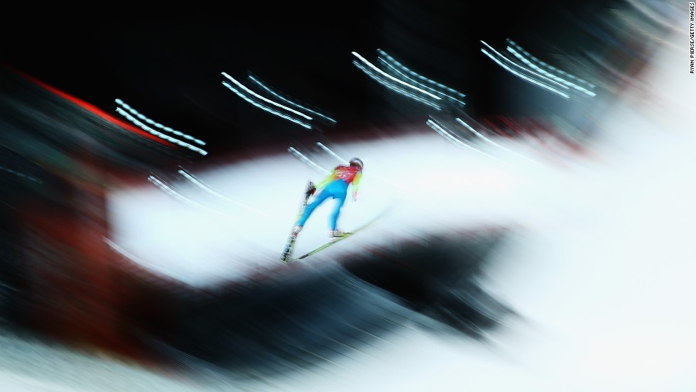 Kamil Stoch of Poland trains on the large hill ski jumping course on February 12. He won the normal hill competition earlier in these Games.