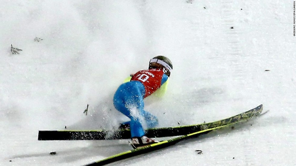 Kamil Stoch of Poland crashes during a training session for the large hill ski jumping event on February 12.