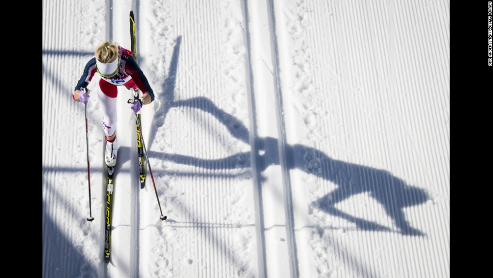 Norway's Therese Johaug competes in the women's 10-kilometer classic.