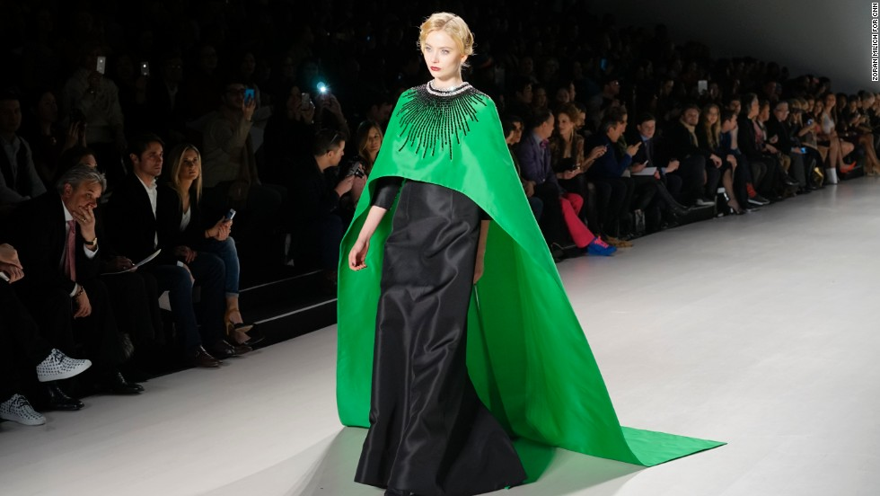 Zang Toi was one of many designers that played with a cape silhouette, as seen here, during this New York Fashion Week.
