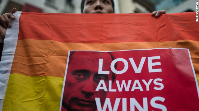 An activist demonstrates against Russia's anti-gay legislation on the day of the opening ceremony the Sochi Winter Olympic Games in Hong Kong on February 7, 2014.