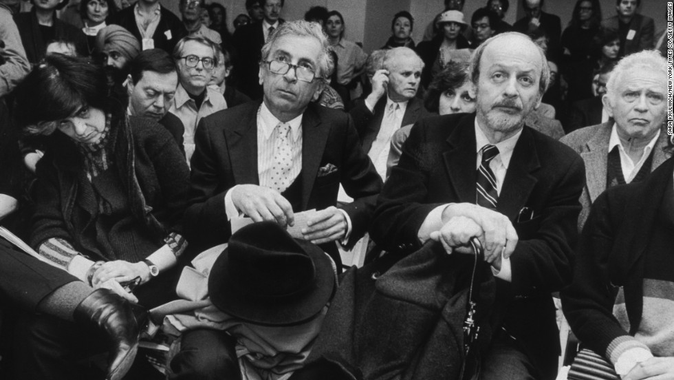 American authors Susan Sontag, left, Gay Talese, E L Doctorow and Norman Mailer are seated at Writers In Support of Salman Rushdie, New York City on February 22, 1989. Sontag was the president of PEN American Center and rallied American writers to support Rushdie.