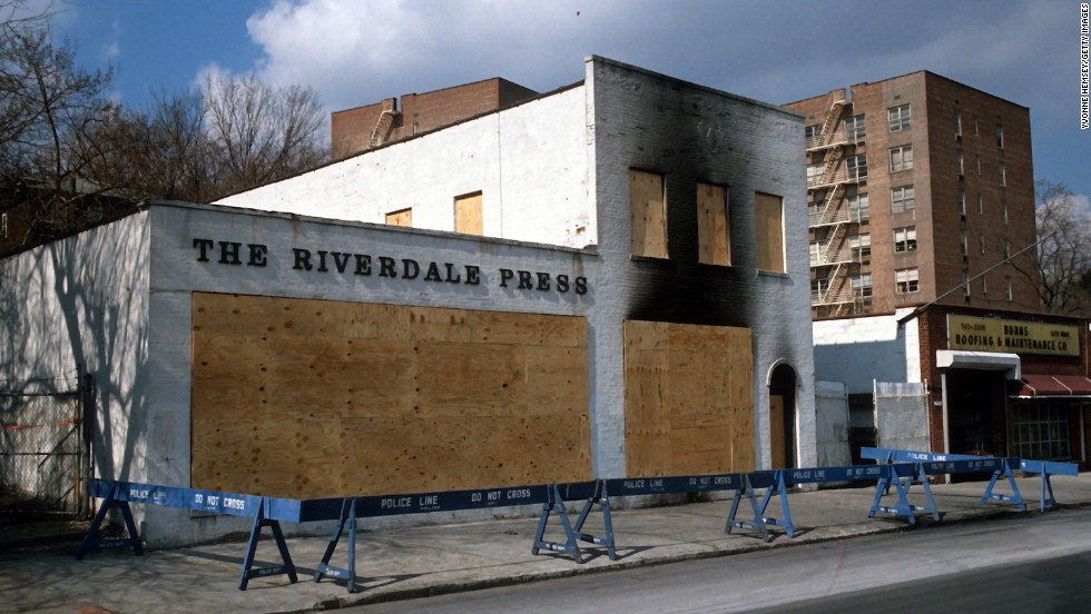 "The Riverdale Press office was firebombed on February 28, 1989, in the Riverdale section of the Bronx in New York. The bombing took place shortly after the newspaper published an editorial that supported the public's right to read  ""The Satanic Verses."""