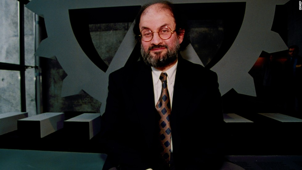 Rushdie poses in the hall of the the Defense Arch in La Defense, a suburb or Paris, on March 18, 1993. It was Rushdie's first visit to France since the call for his death.
