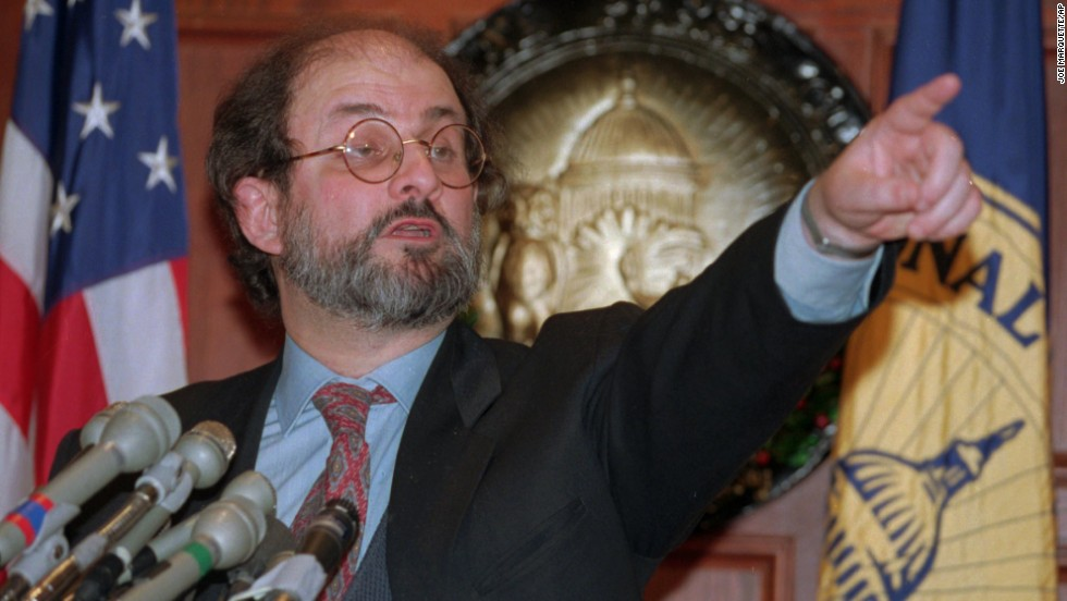 Rushdie answers questions on November 24, 1993, during a news conference at the National Press Club in Washington. Later that day, Rushdie met with President Bill Clinton.