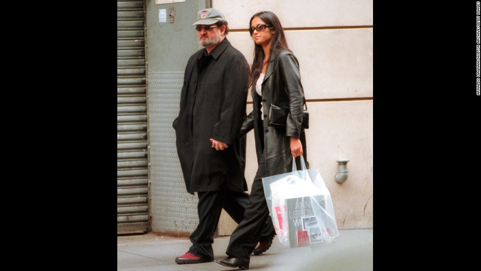 Rushdie and girlfriend Padma Lakshmi walk along Madison Avenue in New York on March 30, 2000.