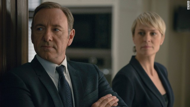 "Kevin Spacey and Robin Wright in Netflix's hit, ""House of Cards."""