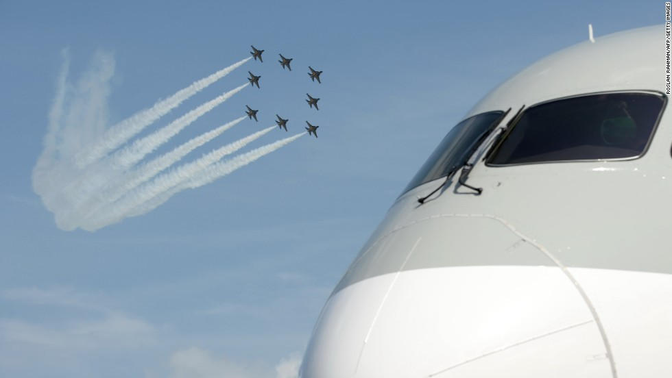 Black Eagles in the background, Airbus A380 nosing in. Airbus received 20 orders for the flagship superjumbo.