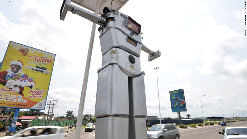 """The traffic is a big problem in the rush hours,"" said Vale Manga Wilma, president of the DRC's National Commission for Road Safety. ""With the robots' policemen intelligence, the road safety in Kinshasa becomes very easy."""