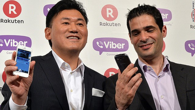 Japan's online shopping giant Rakuten president Hiroshi Mikitani (L) and Cyprus-based application maker Viber Media CEO Talmon Marco pose in Tokyo on February 14, 2014. Rakuten, Japan's largest online shopping mall operator, said on February 14 it would buy Cyprus-based application maker Viber Media for 900 million USD, as its expands an overseas empire that includes Canadian e-reader company Kobo. AFP PHOTO / Yoshikazu TSUNOYOSHIKAZU TSUNO/AFP/Getty Images