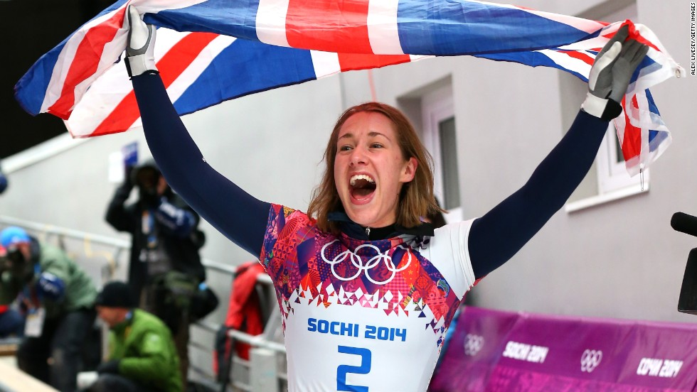 Lizzy Yarnold of Great Britain celebrates winning the gold medal in skeleton on February 14.