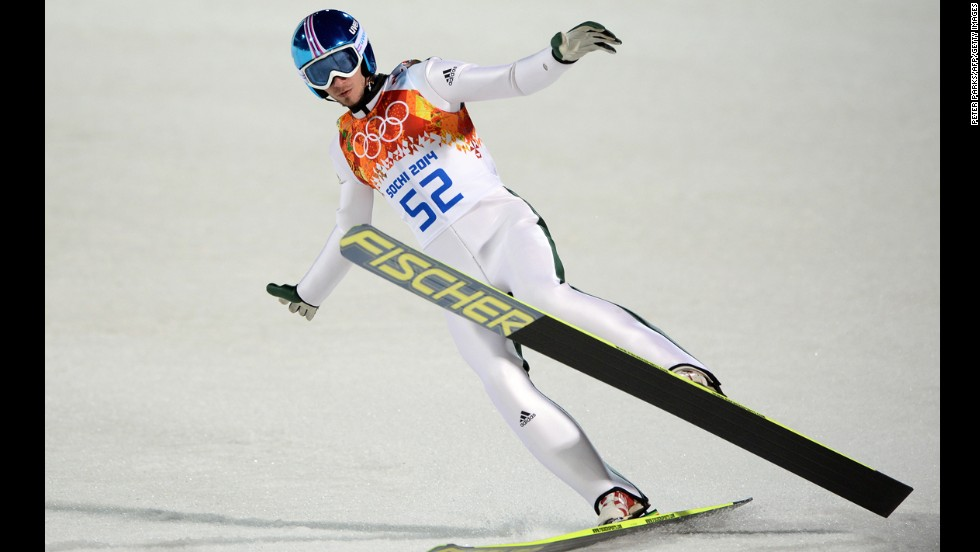 Slovenia's Robert Kranjec competes during the men's large hill ski jumping event on February 14.