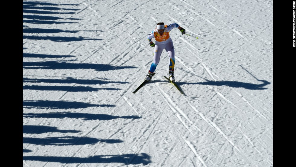 Sweden's Anna Haag competes in the women's cross-country relay on February 15.