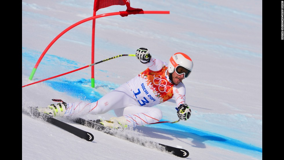 U.S. skier Bode Miller competes in the super-G on February 16.