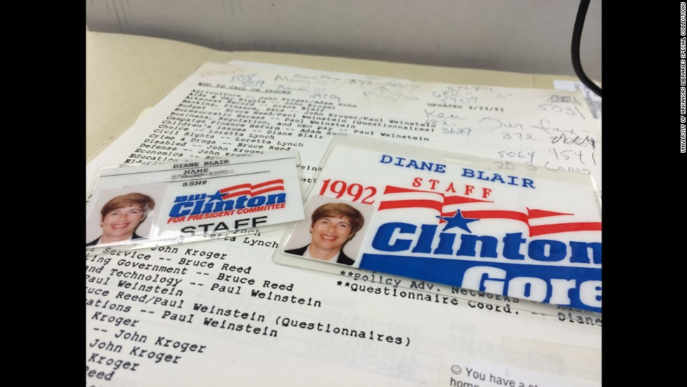 Blair was listed as the campaign staffer to speak about children's issues, Clinton's Arkansas record and education. Here are her 1992 campaign ID cards.