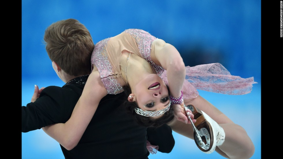 Russia's Elena Ilinykh and Nikita Katsalapov perform their short program during the ice dancing competition on Sunday, February 16.