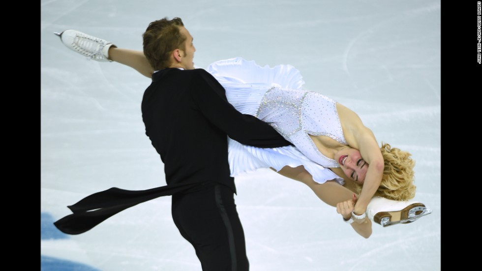 Lithuania's Deividas Stagniunas and Isabella Tobias compete in ice dancing on February 16.