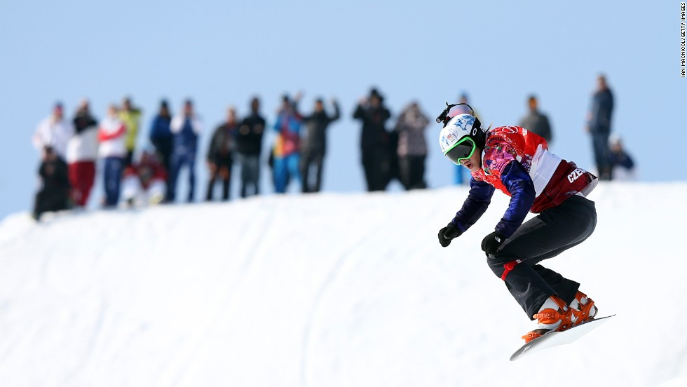 Eva Samkova of the Czech Republic finishes the second-to-last jump February 16 in the final of the women's snowboard cross.