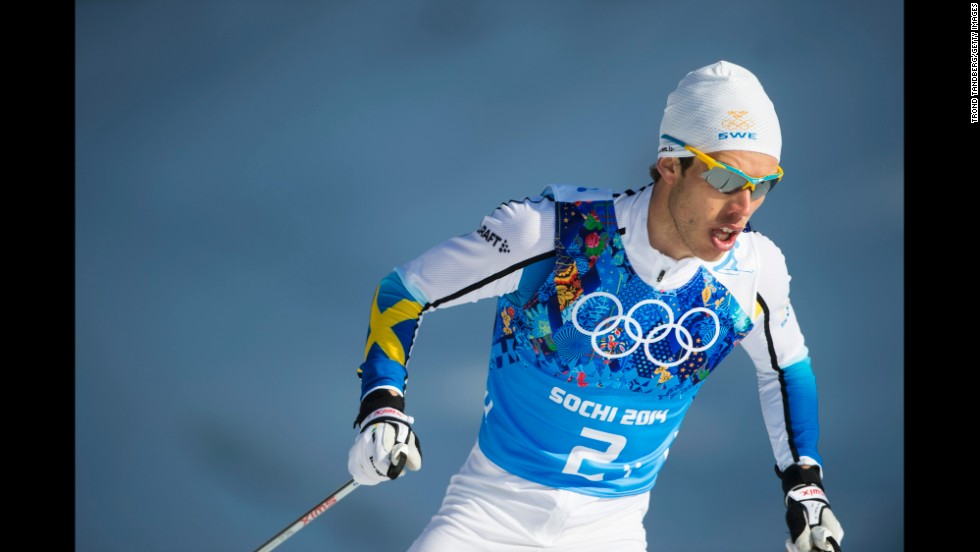 Marcus Hellner of Sweden skis in the relay.