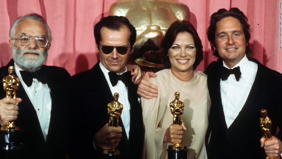 "From left, producer Saul Zaentz, actor Jack Nicholson, actress Louise Fletcher and producer Michael Douglas pose with their Oscars at the 1976 Academy Awards ceremony. They all won for the film ""One Flew Over the Cuckoo's Nest,"" which swept the major categories that year."