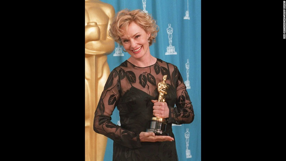 "Jessica Lange holds the Oscar she won for her role in the film ""Blue Sky."""