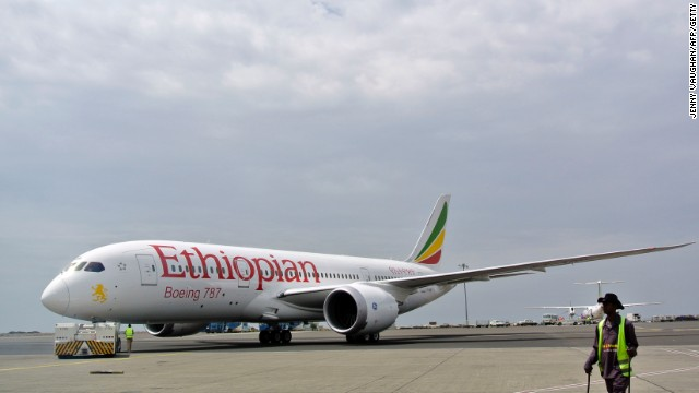 An Ethiopian Airlines Dreamliner jet is pictured ahead of its take off on April 27, 2013, at Addis Ababa's Bole International Airport. The carrier became the first airline to resume flying the Boeing 787 that were grounded worldwide three months ago due to battery problems. Saturday's flight will travel from Addis Ababa to Nairobi and is expected to return in the evening. The remaining three of Ethiopia's Dreaminers will also be retrofitted with a new battery that is contained, ensuring the flight can continue in case of malfuntion. Ethiopian Airlines CEO Tewolde Gebremariam said he was very happy to be the first airline in the world to resume flight after a three month grounding of the 50-strong fleet. Ethiopian Airlines, Africa's fastest growing carrier, is the first airline in Africa to operate the 787 Dreamliner. AFP PHOTO/JENNY VAUGHAN. (Photo credit should read JENNY VAUGHAN/AFP/Getty Images)