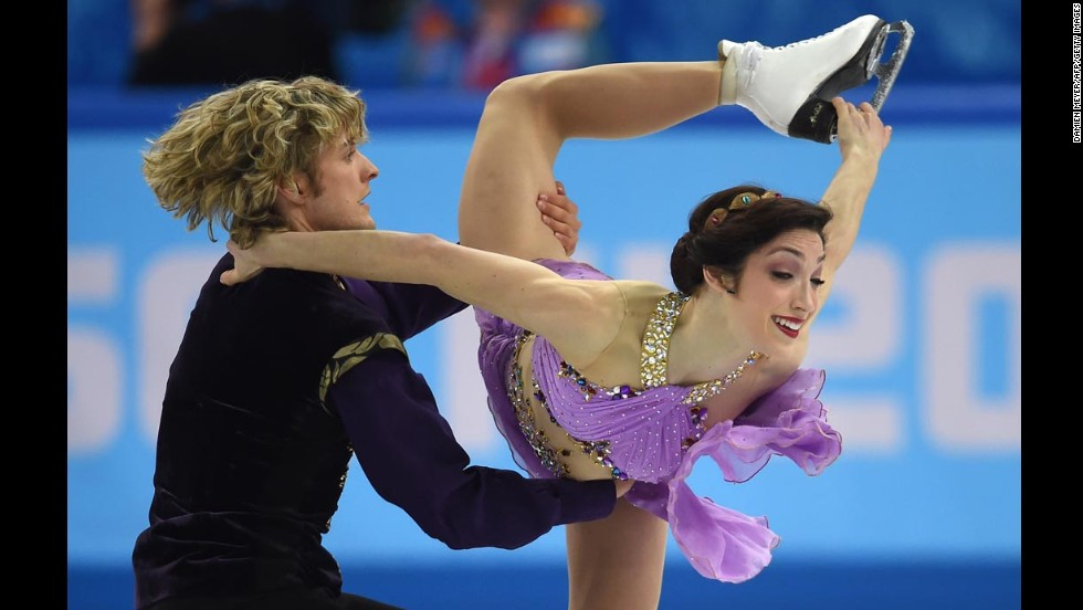 American ice dancers Charlie White and Meryl Davis compete on February 17.