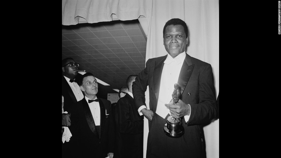 "Sidney Poitier became the first African-American to win the best actor Oscar -- for his work in ""Lilies of the Field."" Poitier had been nominated once before for ""The Defiant Ones."" Interestingly, Poitier was the only one of the four acting category winners present at the 1964 ceremony."