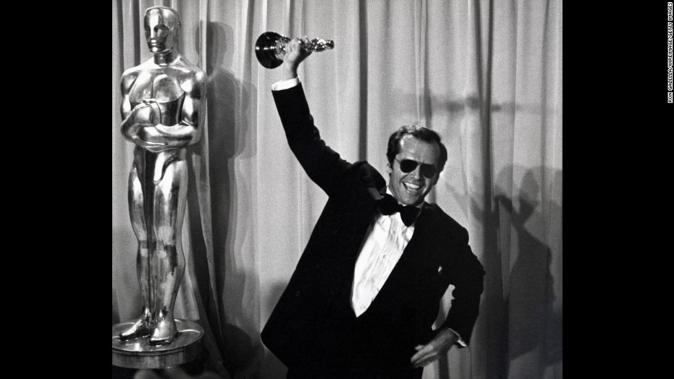 "After losing out four times as an Oscar nominee, Jack Nicholson triumphantly claimed his prize for ""One Flew Over the Cuckoo's Nest."""