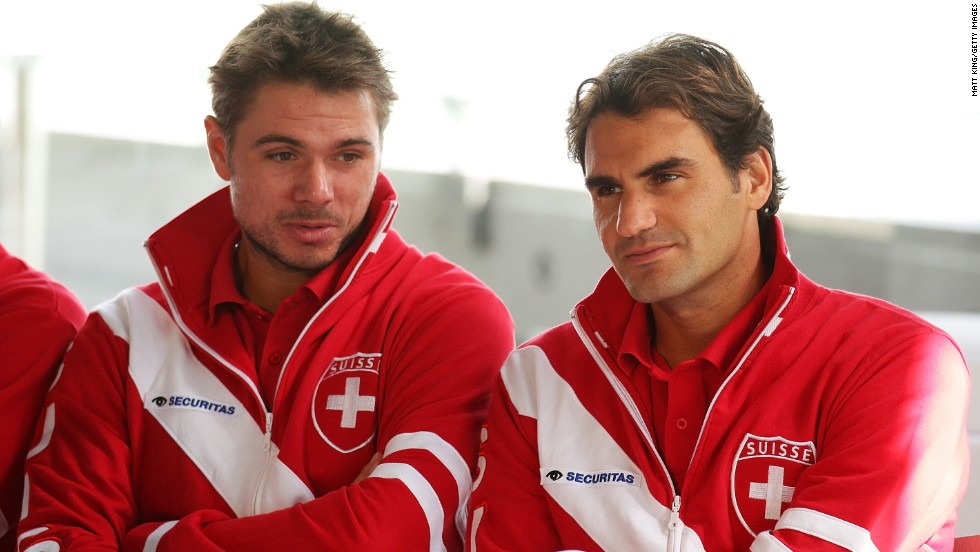 Switzerland, meanwhile, only has two men in the top 100 -- but both Stanislas Wawrinka, left, and Federer are grand slam singles champions.