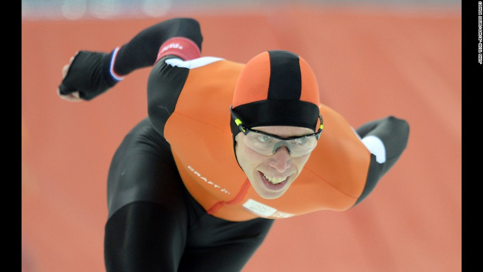 Dutch speedskater Jorrit Bergsma competes in the men's 10,000 meters on February 18.