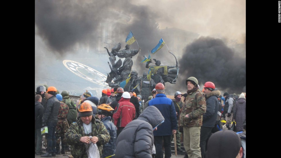 KIEV, UKRAINE:  After the deaths of 25 people during clashes a day earlier, Ukrainian protesters prepare to stand and fight again on February 19.  Photo taken by CNN's Andrew Carey on February 19.
