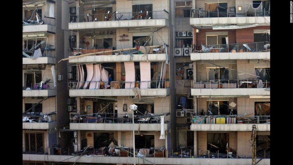 The February 19 blast near the Iran facility leaves a Beirut apartment building damaged.
