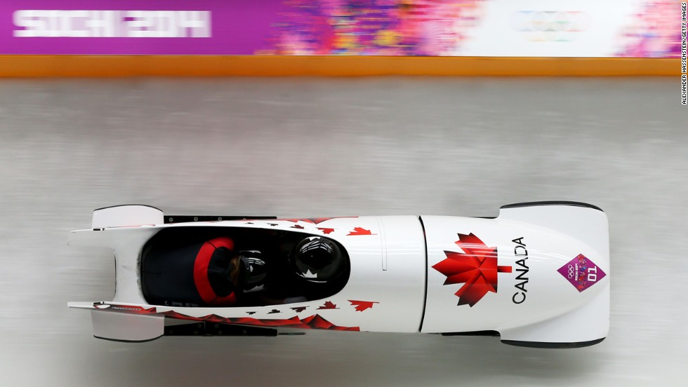 Kaillie Humphries and Heather Moyse of Canada make a run during the women's bobsled event on February 19.
