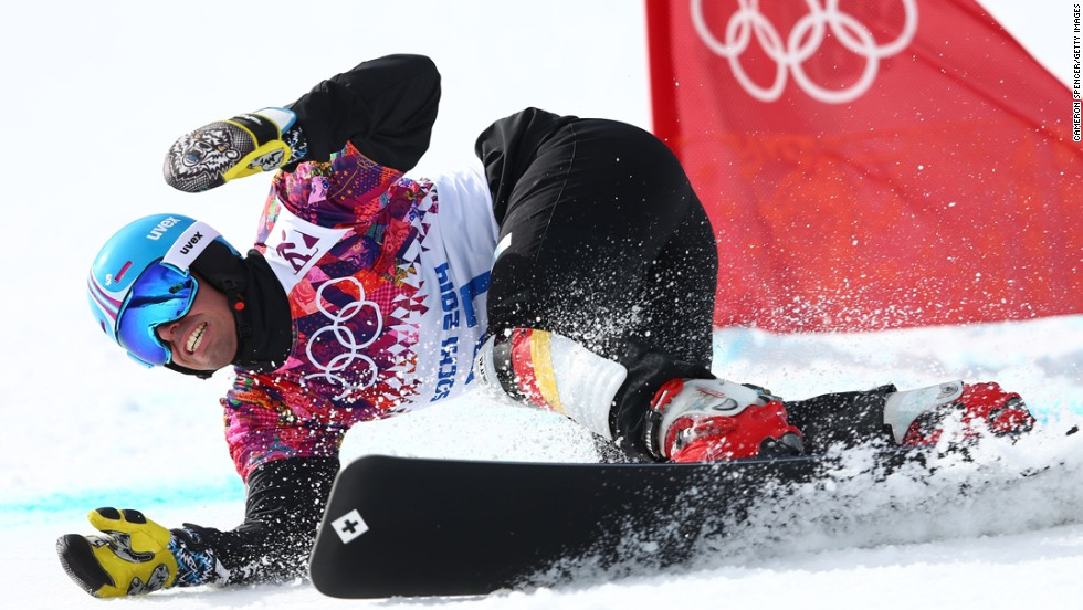Patrick Bussler of Germany competes in the quarterfinals of the men's parallel giant slalom on February 19.