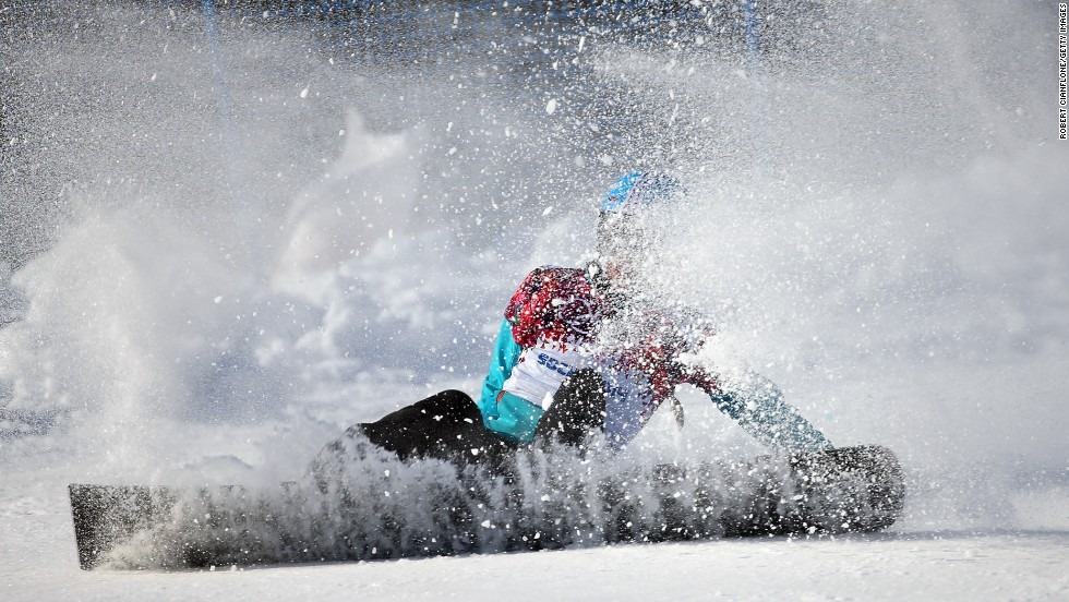 Snowboarder Amelie Kober of Germany runs wide during the women's parallel slalom on February 19.