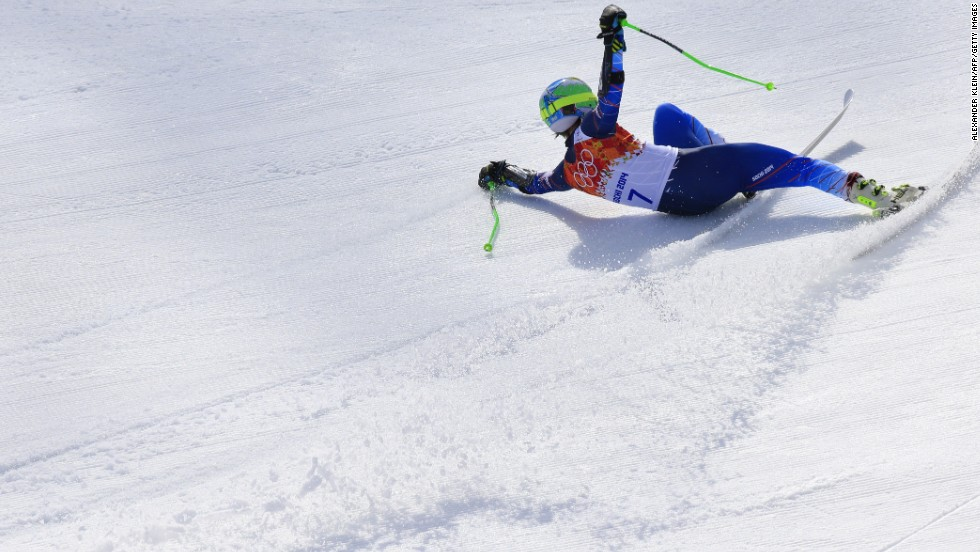 U.S. skier Ted Ligety arrives at the finish line of the men's giant slalom on February 19.