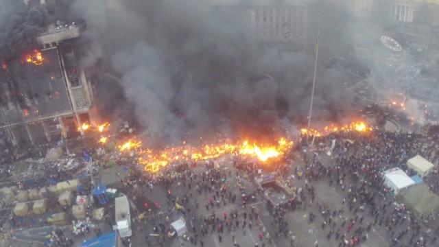 Drone offers bird's-eye view of protests