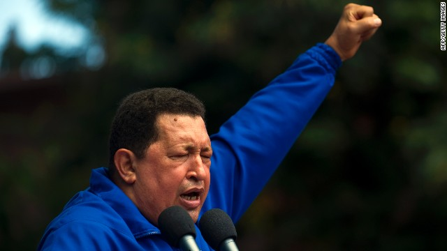 Venezuelan President Hugo Chavez delivers a speech during a campaign rally in Maracay , Aragua state on Octubre 3, 2012.