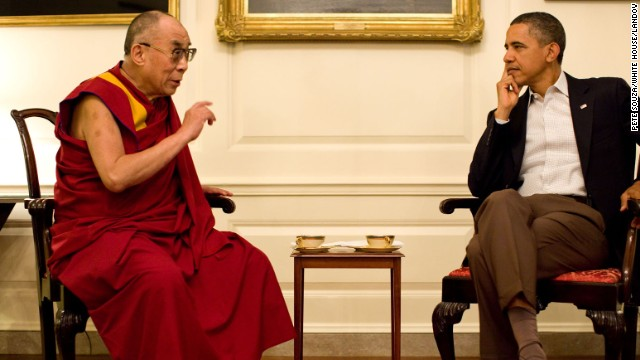 President Barack Obama meets with His Holiness the XIV Dalai Lama in the Map Room of the White House, Saturday, July 16, 2011.