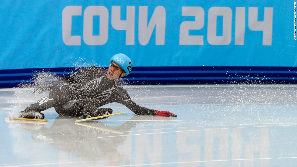 American speedskater J.R. Celski falls as he competes in the 500-meter short track competition on February 21.