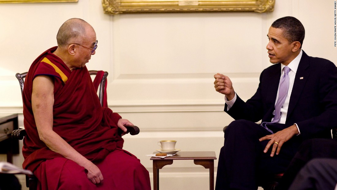 President Barack Obama meets with the Dalai Lama in the Map Room of the White House in February 2010.