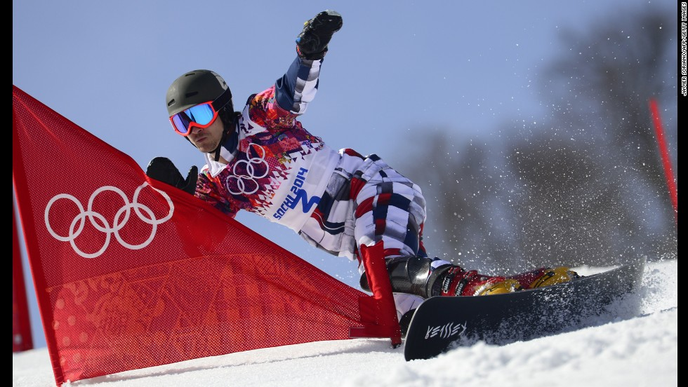 Russia's Vic Wild competes in the men's snowboard parallel slalom 1/8 finals on February 22.