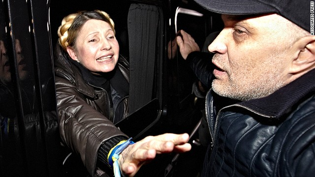 Former Ukrainian Prime Minister Yulia Tymoshenko is greeted by supporters shortly after being freed from prison in Kharkiv on Saturday, February 22.