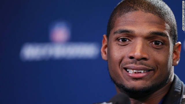 Former Missouri defensive lineman Michael Sam speaks to the media during the 2014 NFL Combine at Lucas Oil Stadium on February 22 in Indianapolis, Indiana.