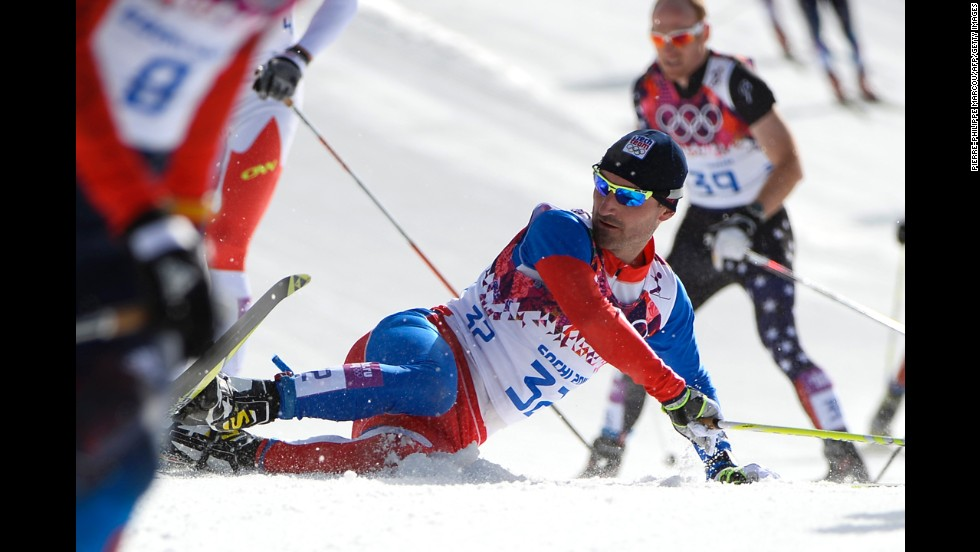 The Czech Republic's Jiri Magal takes a fall in the men's cross-country skiing 50-kilometer mass start free on February 23.