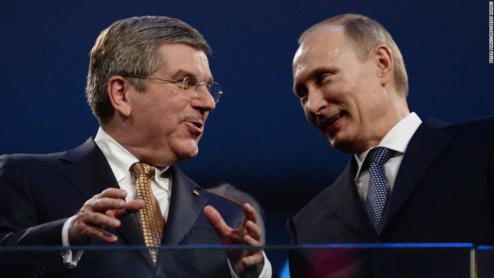 International Olympic Committee President Thomas Bach, left, and Russian President Vladimir Putin helped close the Games.
