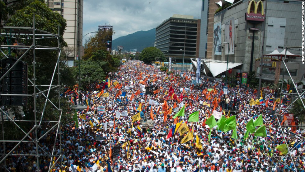 Thousands take to the streets of Caracas on February 22 to protest the government.
